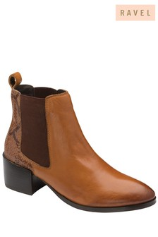 Ravel Brown Leather Chelsea Ankle Boot