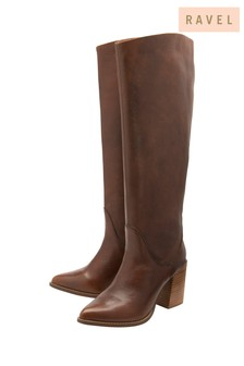 Ravel Dark Brown Leather Pull On Knee High Boot