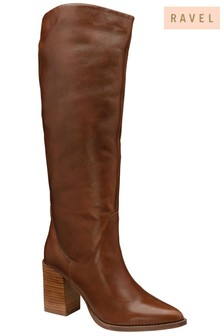 Ravel Brown Leather Knee High Boot
