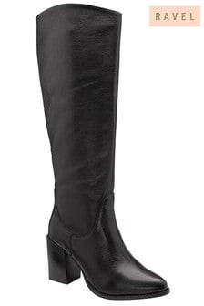 Ravel Black Leather Pull On Knee High Boot