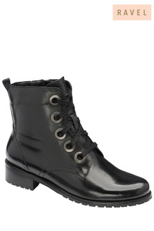 Ravel Black Leather Ankle Boot