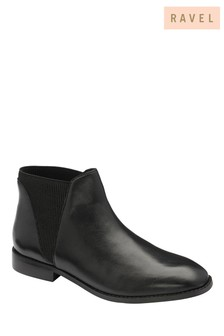 Ravel Black Leather Chelsea Ankle Boot
