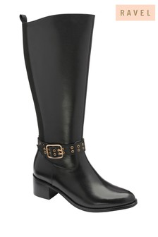 Ravel Black Leather Knee High Riding Boot