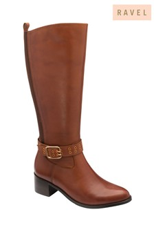 Ravel Green Leather Knee High Riding Boot