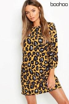 Boohoo Yellow Leopard Print High Neck Blouson Sleeve Shift Dress