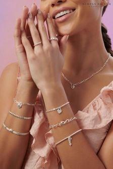 Simply Silver Sterling Silver 925 Heart Row Bracelet