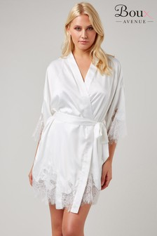 Boux Avenue Ivory Satin Cut Out Lace Robe