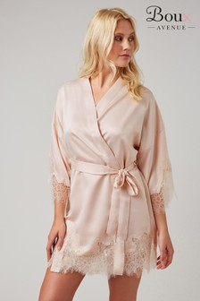 Boux Avenue Pink Satin Cut Out Lace Robe