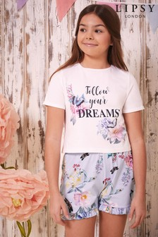 Lipsy Girl Cream Printed Short PJ Set