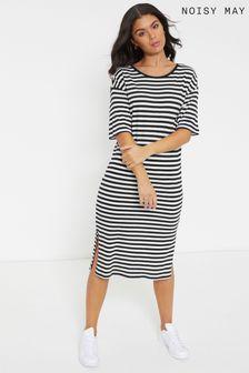 Noisy May Striped Midi T-Shirt Dress