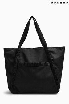 Topshop Black Ruched Stripe Tote Bag