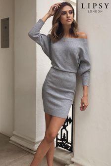 Lipsy Grey Knitted Slash Neck Dress