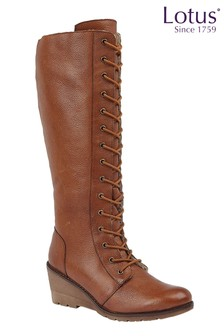 Lotus Footwear Brown Lace Wedge Leg Boot