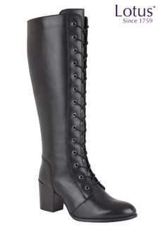 Lotus Footwear Black Lace Leg Boot