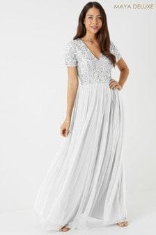 Maya White Regular V Neck Short Sleeve Sequin Maxi Dress