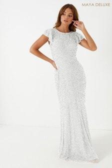 Maya White Flutter Sleeve Maxi Dress