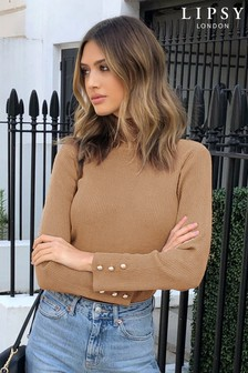 Lipsy Camel Knitted Ribbed Roll Neck Jumper