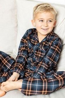 Cyberjammies Navy Check Kids Long Sleeve PJ Set