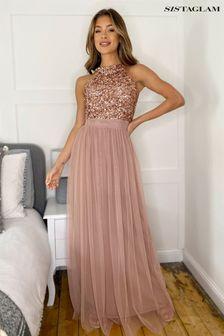 Sistaglam Rose Gold Halter Neck Dress