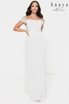 Anaya With Love White Bardot Tulle Dress