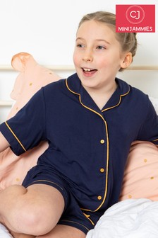 Cyberjammies Navy Knitted Revere Short Sleeve Shorty Set