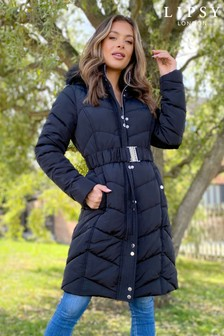 Lipsy Black Long Line Padded Jacket