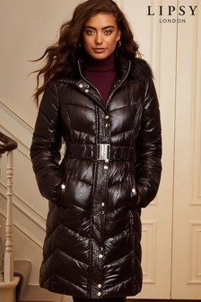 Lipsy Shiny Black Long Line Padded Coat