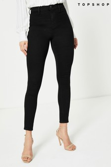 Topshop Black Belt Loop Long Leg Joni Jeans