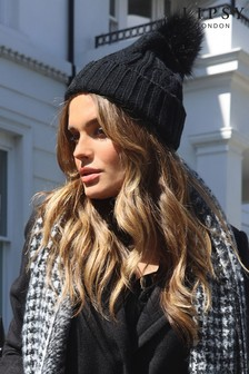 Lipsy Black Cable Knit Hat