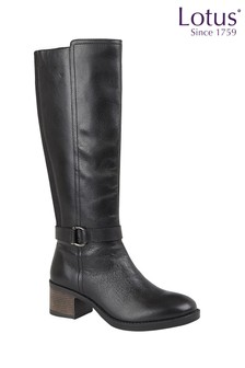 Lotus Footwear Black Leather Leg Boot