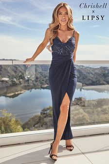 Lipsy Navy Embroidered Lace Cami Maxi Dress