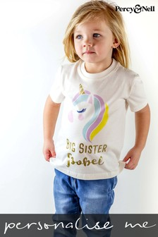 Personalised Organic Cotton Big Sister Unicorn T- shirt By Percy & Nell