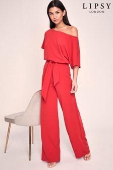 Lipsy Red Kimono Tie Jumpsuit