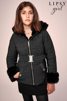 Lipsy Black Reversible Faux Fur Coat