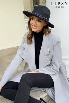 Lipsy Black Fedora Chain Hat