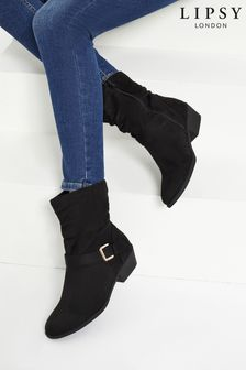 Lipsy Black Flat Ruched Buckle Boot