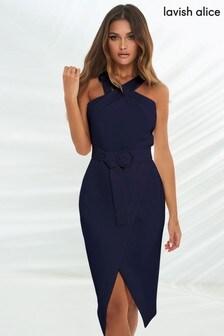 Lavish Alice Navy Halter Neck Wrap Midi Dress