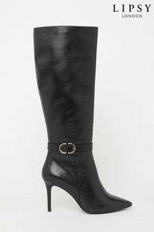 Lipsy Black Leather Heeled Long Boot