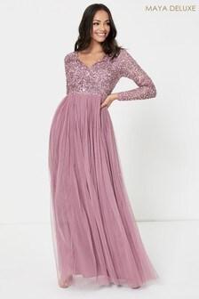 Maya Pink V Neck Long Sleeve Sequin Maxi Dress