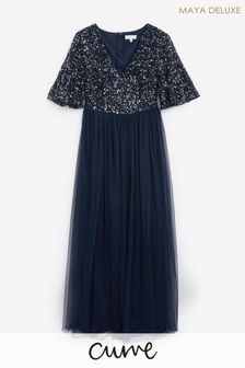 Maya Navy Plus V Neck Delicate Sequin Maxi Dress With Flutter Sleeve