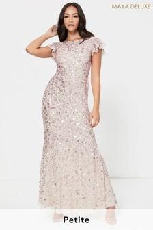 Maya Rose Gold Petite Flutter Sleeve All Over Sequin Maxi Dress