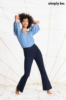 Simply Be Blue Kim High Waist Bootcut Jeans