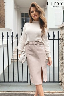 Lipsy Cream Faux Leather Betled Pencil Skirt