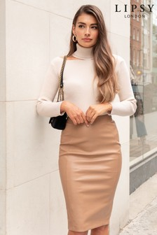 Lipsy Cream Faux Leather Pencil Skirt
