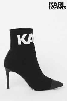 Karl Lagerfeld Pandora Knitted Collar Ankle Boot