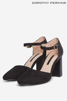 Dorothy Perkins Black Dollie Court Shoes