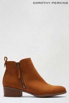 Dorothy Perkins Brown Macro Zip Boot