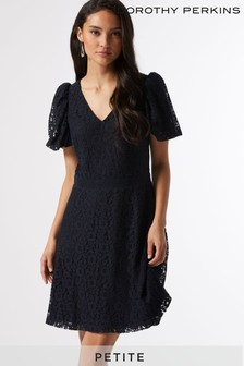 Dorothy Perkins Navy Petite Bubble Lace Dress