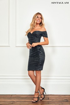 Sistaglam Black Lurex Bardot Midi Dress