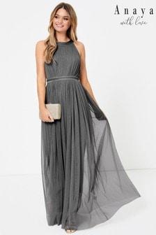 Anaya With Love Grey Regular Halter Maxi Dress
